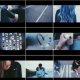 Collage of smaller pictures that contain coffee, the back of a woman's blue curled hair photos and the road