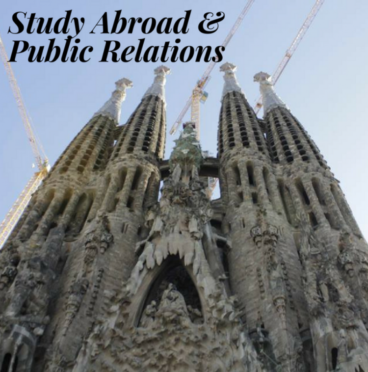 "A picture of a beautiful European building with words edited onto the picture that reads ""Study Abroad and Public Relations"""