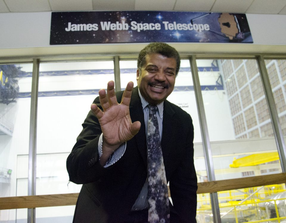 Neil deGrasse Tyson smiles at a talk at the NASA Goddard Space Flight Center. Provided by NASA Goddard Space Flight Center.