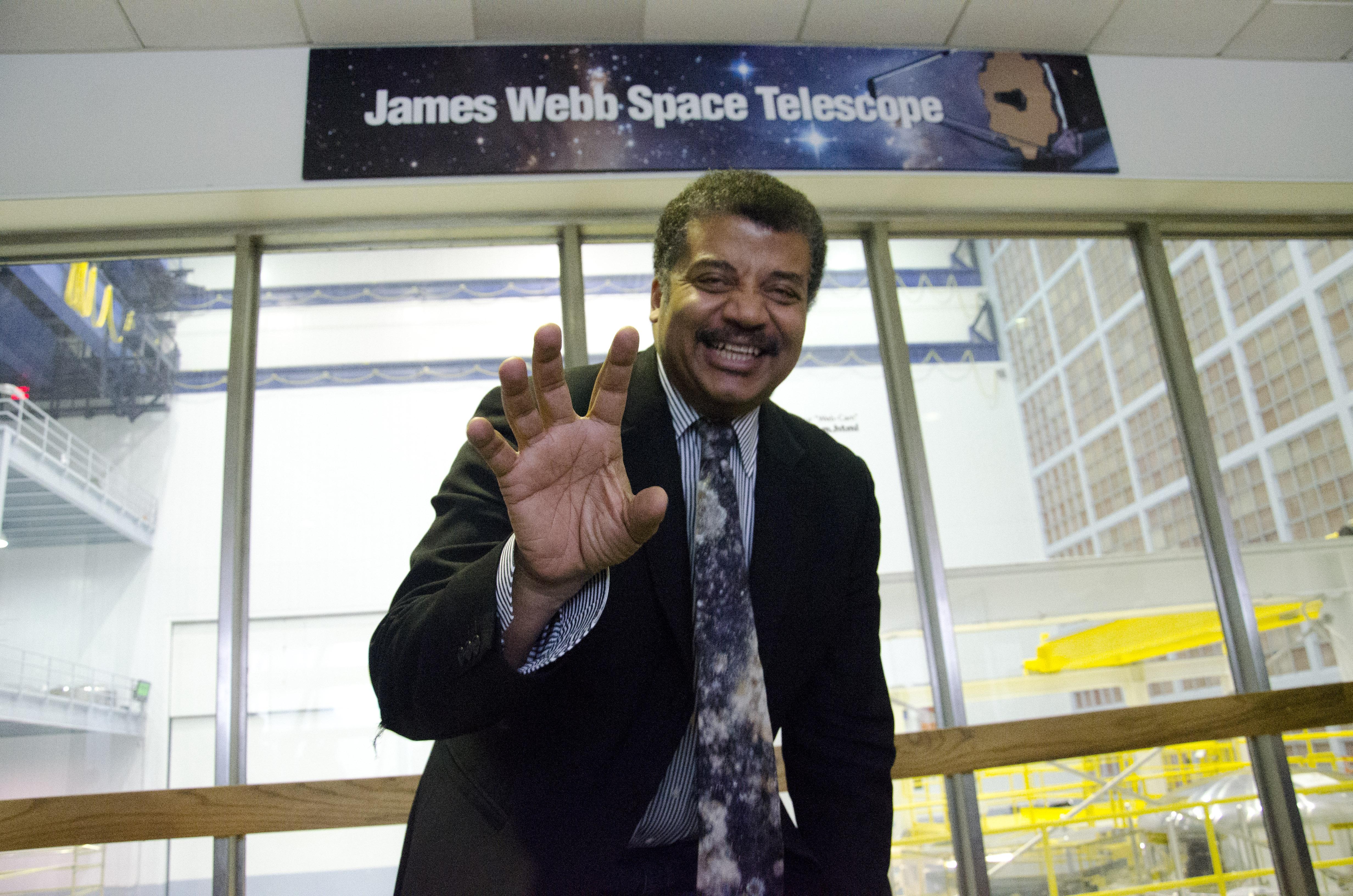 Neil deGrasse Tyson smiles at a talk at the NASA Goddard Space Flight Center. Provided by NASA Goddard Space Flight Center.