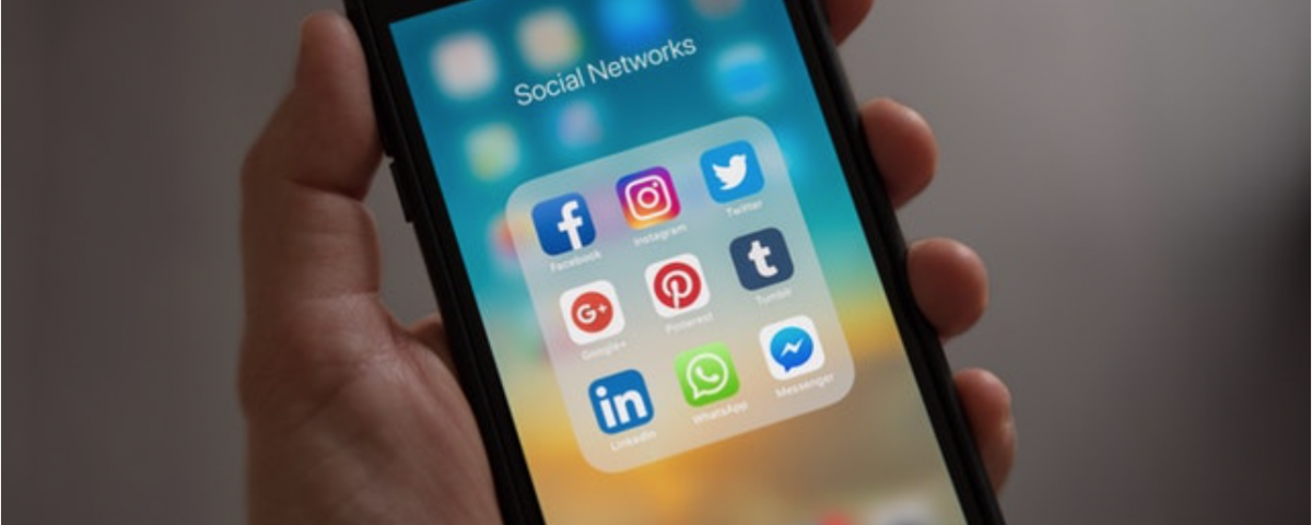 A smart phone showing social media icons.