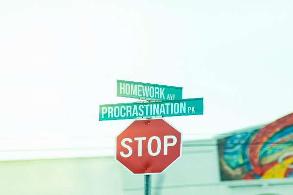 Street signs that read homework, procrastination and stop.