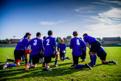 A team playing soccer.