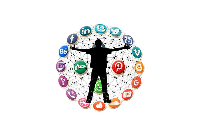 illustration of an individual standing among social media platforms