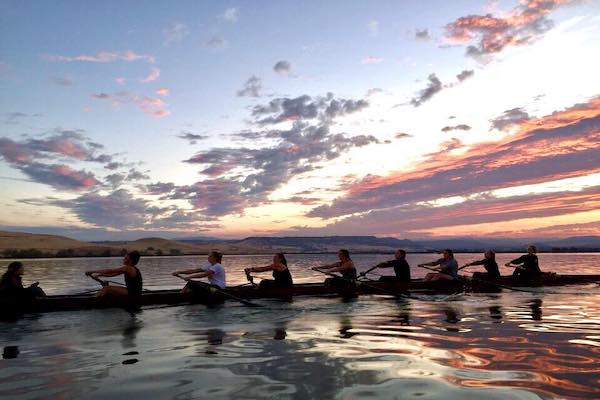 Chico State rowing team rowing at sunset